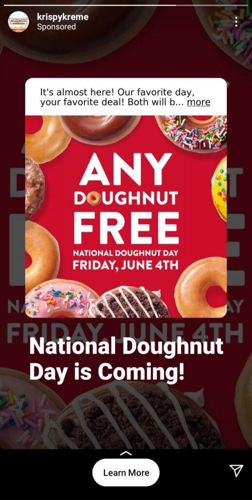 "digital advertising example from krispy kreme with the offer ""any doughnut free, national doughnut day"""