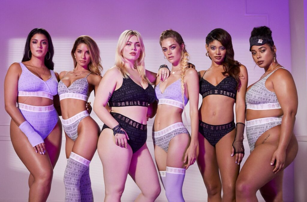 image from savage x fenty marketing campaign featuring women with different body types. ceo caroline spiegel points to rihanna's savage x fenty as an example of more responsible aspirational branding
