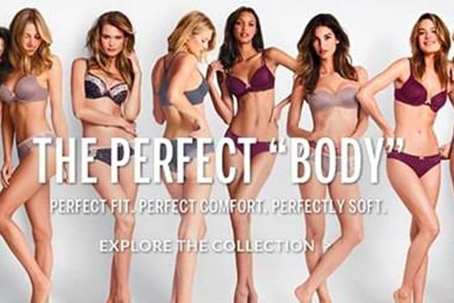 ceo caroline spiegel comments on how victoria's secret affected women's self-identity. image is from the perfect body marketing campaign by victoria's secret, which featured supermodels with small figures