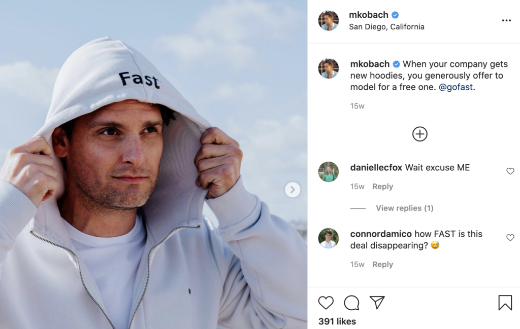 screenshot of instagram post by matthew kobach, head of content for fast. example of how employee advocacy can overlap with b2b influencer marketing strategy