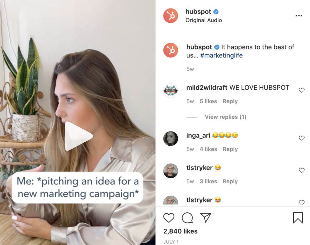 instagram reels post by b2b brand hubspot featuring content created with an authentic influencer marketing feel
