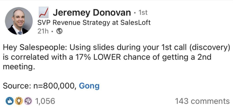 screenshot of a post by svp revenue strategy at salesloft, jeremey donovan, sharing a statistic sourced from b2b brand gong. an example of b2b influencer marketing