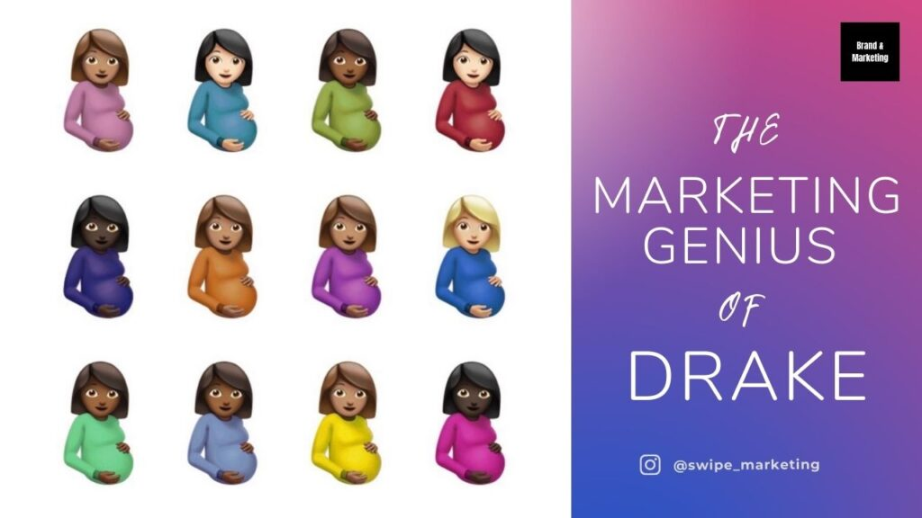 cover art from rap album certified lover boy released by rapper drake in 2021 depicting the pregnant woman emoji in different color variations, 3 rows of 4 emoji women. the cover art sits next to the article title, the marketing genius of drake, from instagram account swipe_marketing
