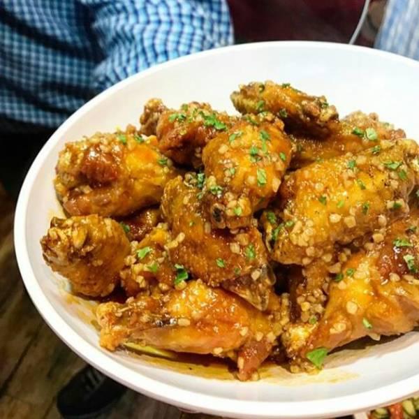 Sweet Spicy Garlic Buffalo Wing.