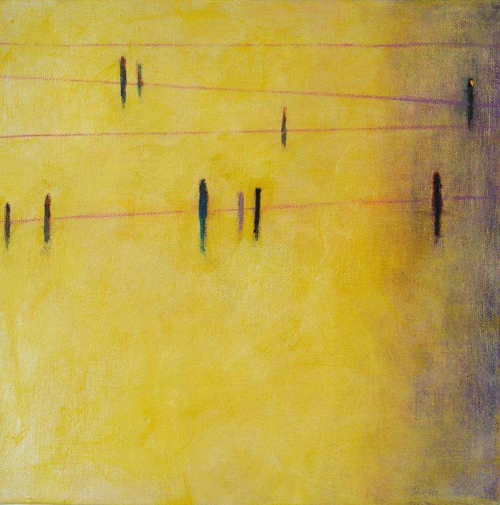 Birds on a Line at Sunrise, 10x10, acrylic on canvas, $210