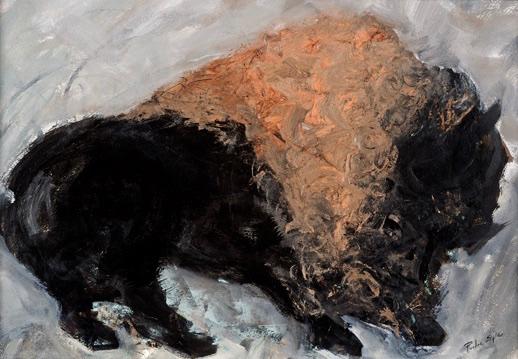 American Buffalo, framed 26x34, acrylic on paper, $395