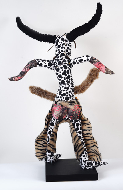 """Chaps, rear view 45"""" tall, wire, fabric, mixed media, $1200"""