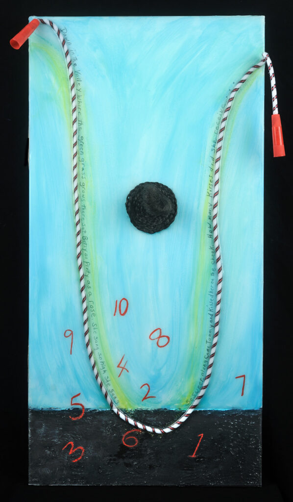 Down in the Valley, 18x36, Acrylic on board, rope, hair under resin, $425