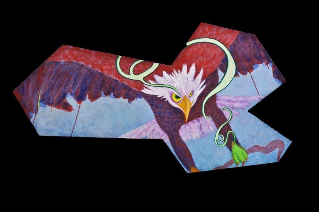 Eagle, 40x48, acrylic on shaped board, $1100