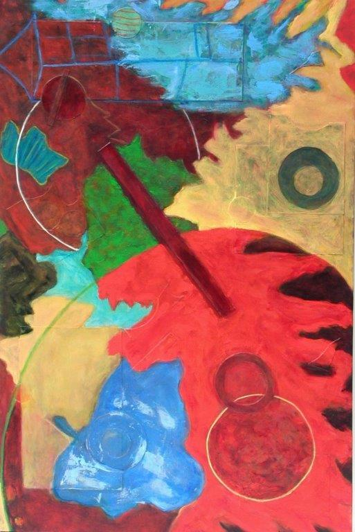 Fly Me to the Moon, 36x24, acrylic/collage on canvas, $950