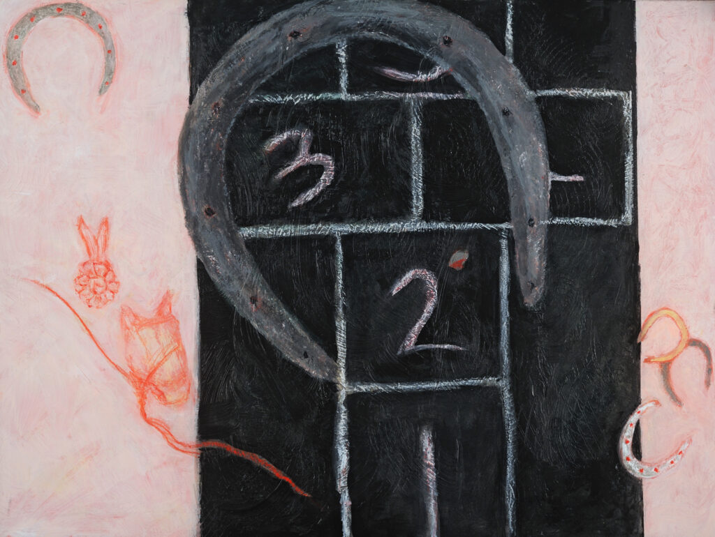 Hopscotch and Horse Show, 12x16, acrylic on board, $110