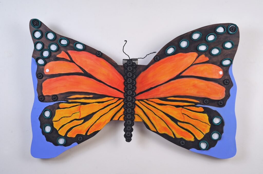 Butterfly Bow, 24x36, acrylic on board with hair accessories, $385