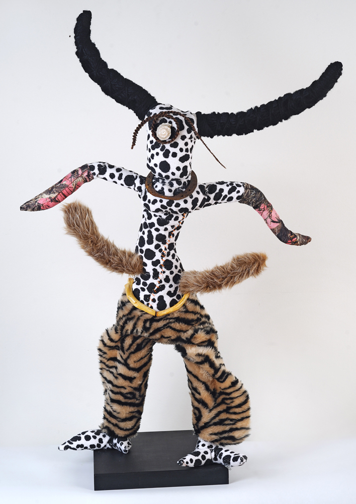 """Chaps, 45"""" tall, wire, fabric, mixed media, $1200"""