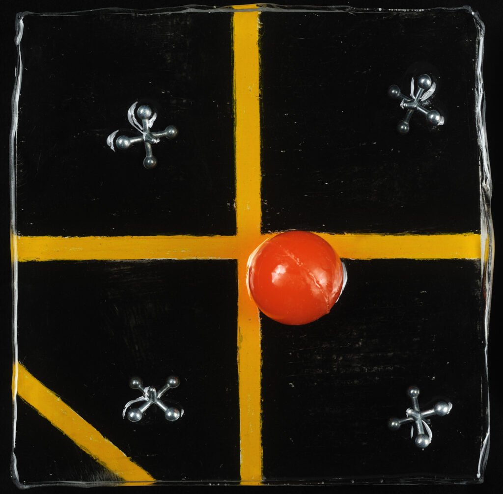 Four Square, 5x5 acrylic, jacks on board under resin, $35