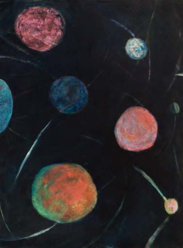 Meteor Shower, 40x30, acrylic on canvas, $850