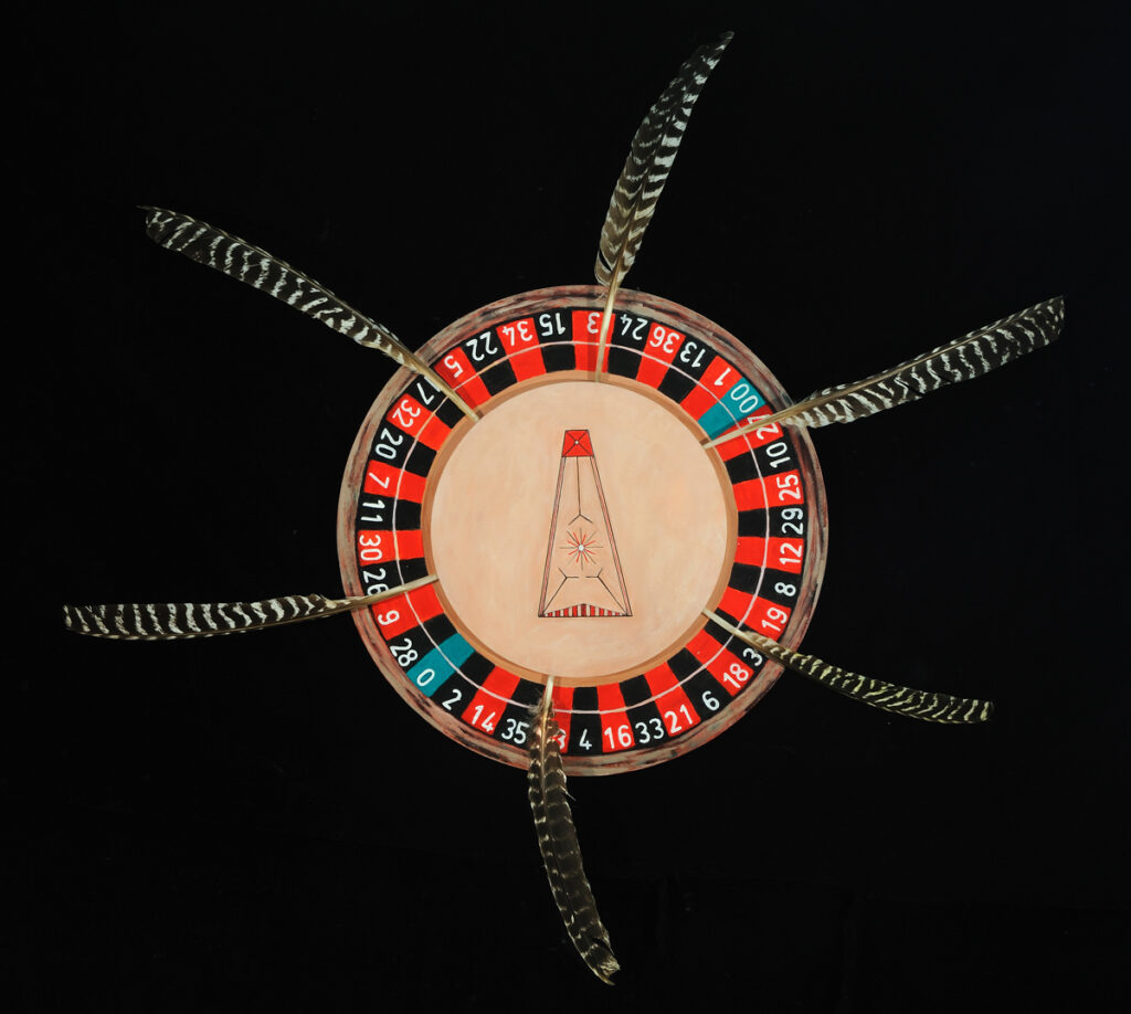 "Native Rhythms, 36"" diameter round canvas, acrylic and feathers, $425"