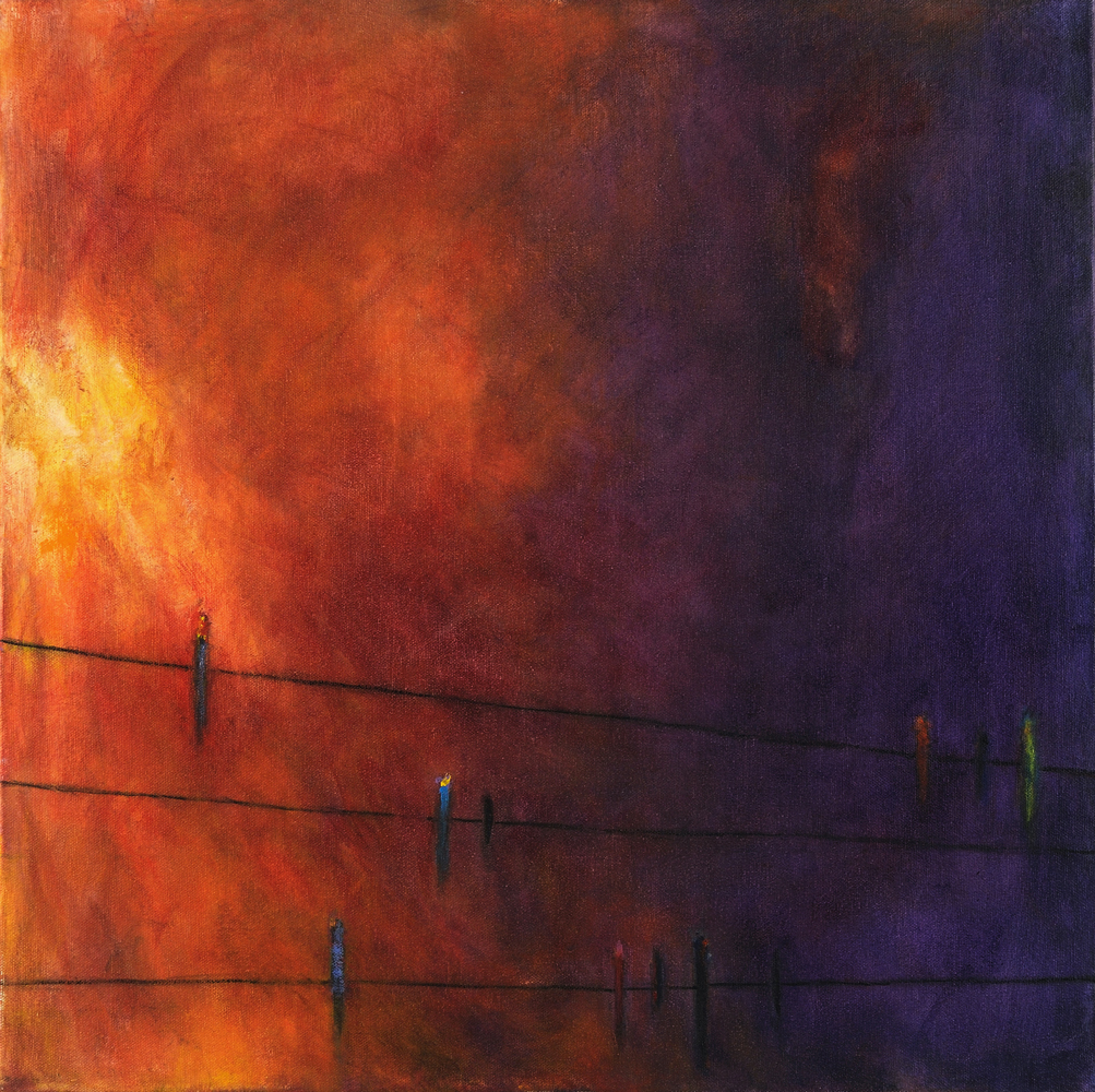 Birds on a Line at Sunset #1, 20x20 acrylic on canvas, $325