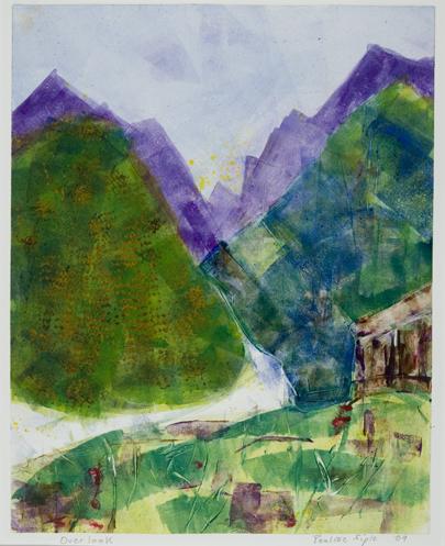 Overlook, Matted 20 x 18, monotype, $125