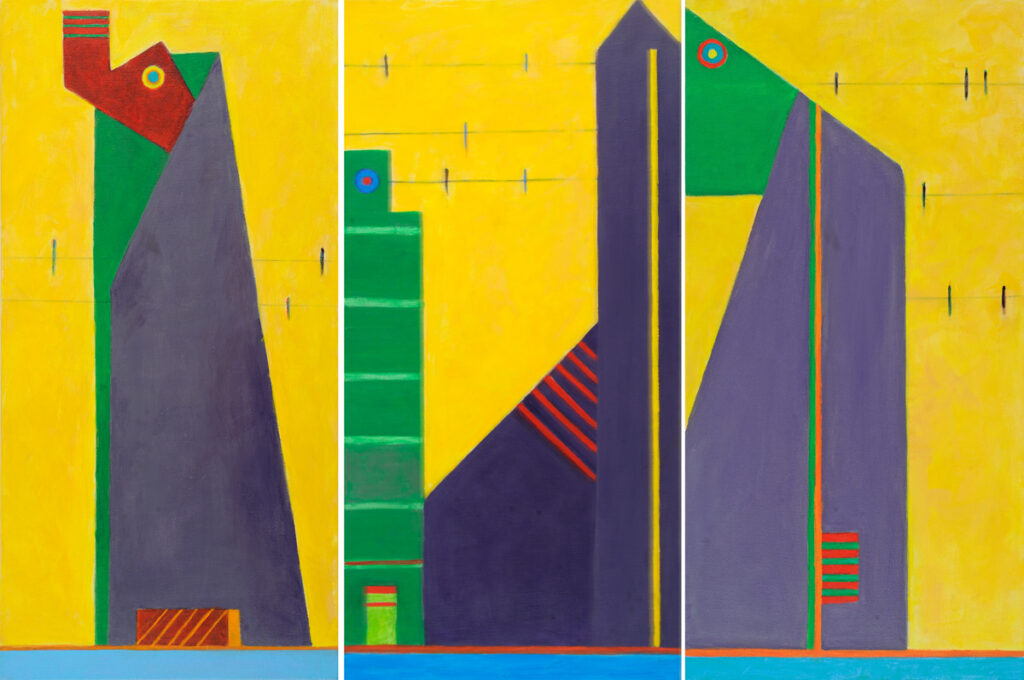 City Birds, triptych, 24x36, acrylic on canvas, $424