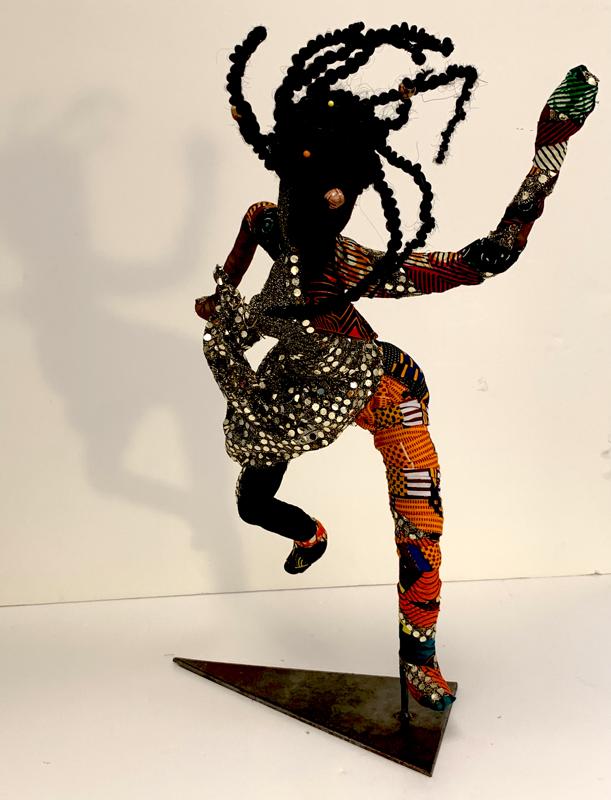 "African Dancer, Mixed Media, 24"" high, View 1"