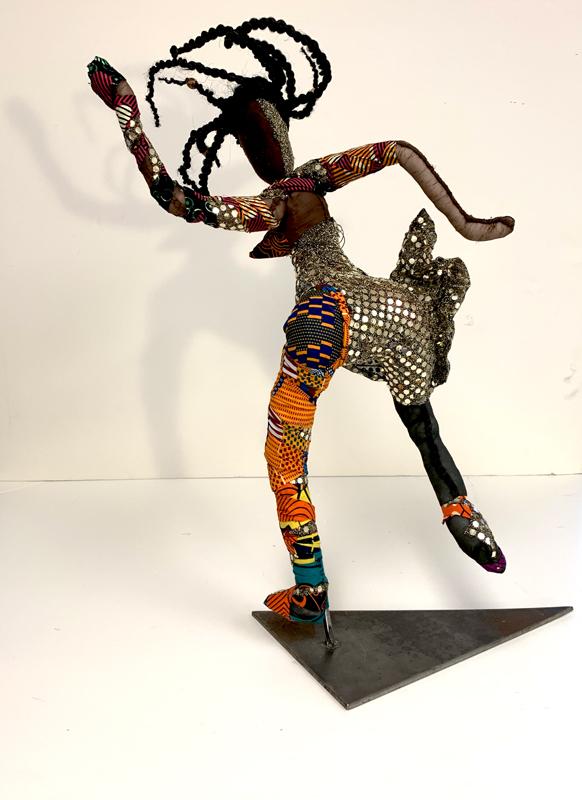 "African Dancer, Mixed Media, 24"" high. view 3"