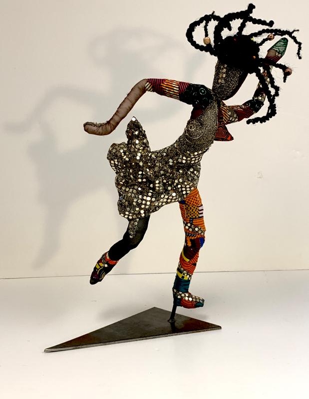 "African Dancer, Mixed Media, 24"" high view 2."