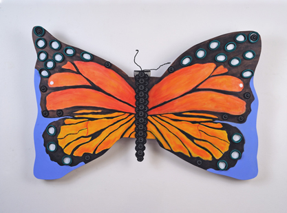 Butterfly Bow, 24 x 36, acrylic on board with hair accessories, $385