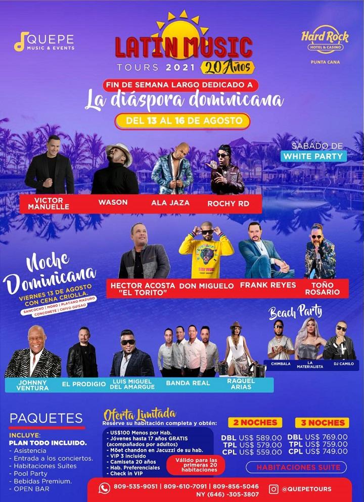 La 20° edición del más esperado evento artístico-turístico del país, será celebrada del 13 al 16 agosto en Hard Rock Hotel & Casino de Punta Cana, con Víctor Manuelle