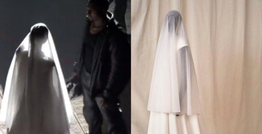 Kim Kardashian y su dramático vestido Balenciaga en el show de Kanye West