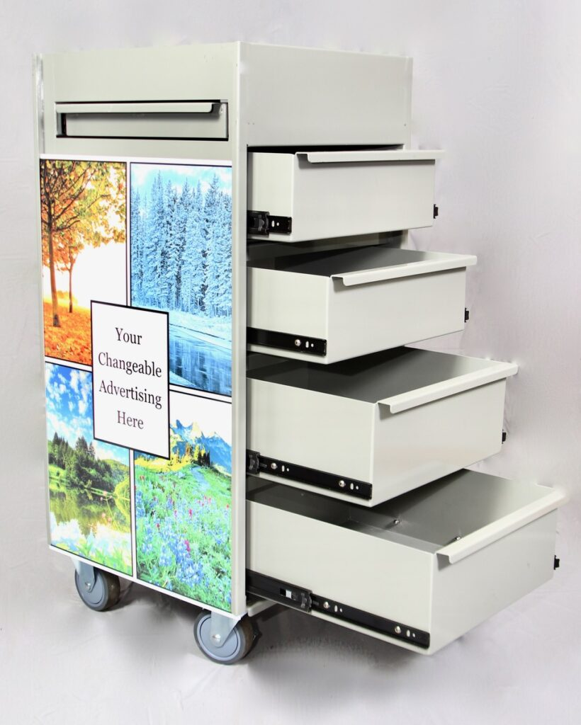 workstation sideview with drawers open