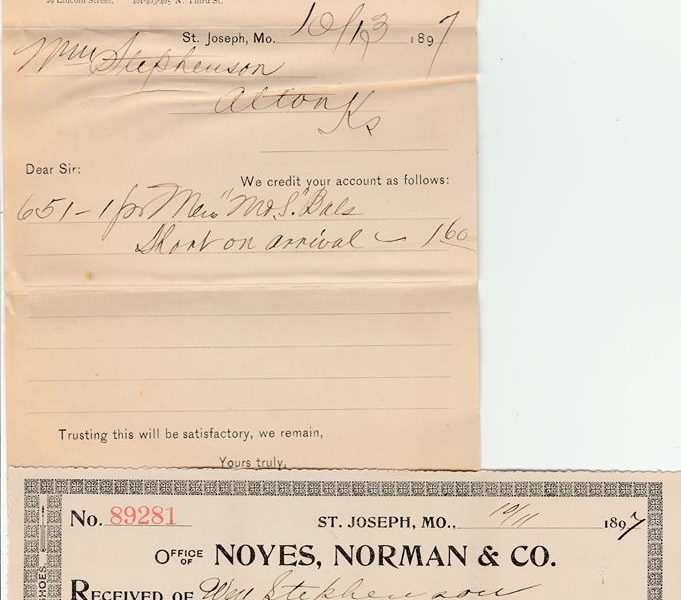 Norman Shoe Company Receipt 1897