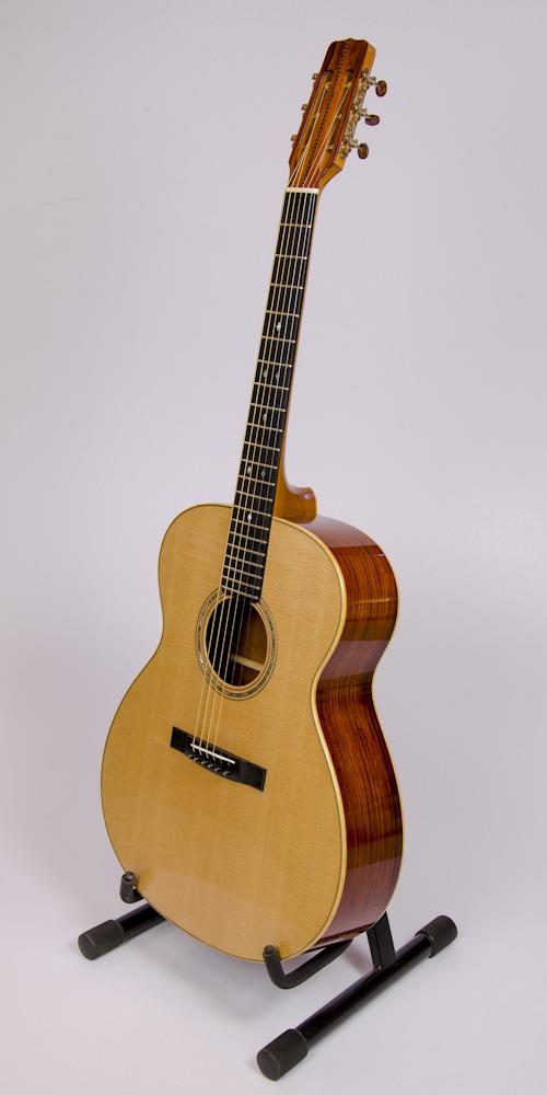 David Dart's 2016 Cocobolo Small Jumbo (SJ) Guitar: Sitka spruce top, cocobolo back & sides, boxwood binding, hand-cut fingerboard abalone diamond inlay, slotted snake's-head peghead