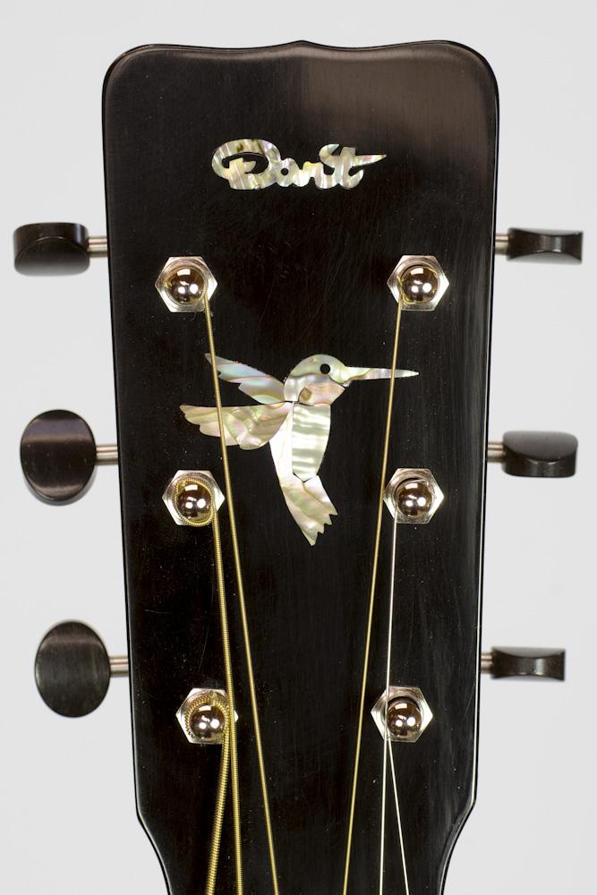 David Dart Koa & Spruce OM-14 Hummingbird peghead inlay (abalone & ebony)
