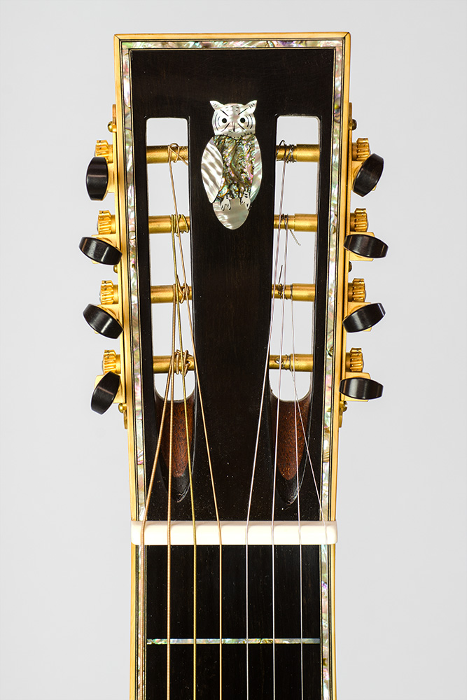 David Dart 8-String Hawaiian Steel Guitar Guitar peghead owl inlay (abalone & mother-of-pearl)