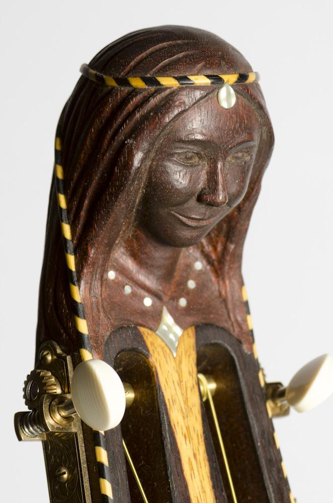 "David Dart Hand-Carved & Inlaid ""Lady Steel"" peghead (mahogany, abalone, ebony, & boxwood), from a Bowlback Steel Guitar"