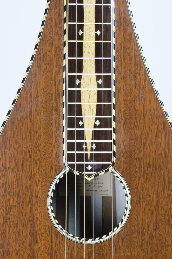David Dart fingerboard (mahogany, abalone, ebony, & boxwood), from a Bowlback Steel Guitar