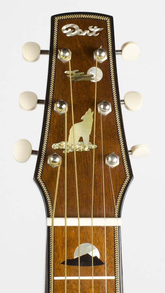 David Dart Howling Wolf & Full Moon peghead inlay (abalone & mother-of-pearl), from a Hawaiian Steel Guitar
