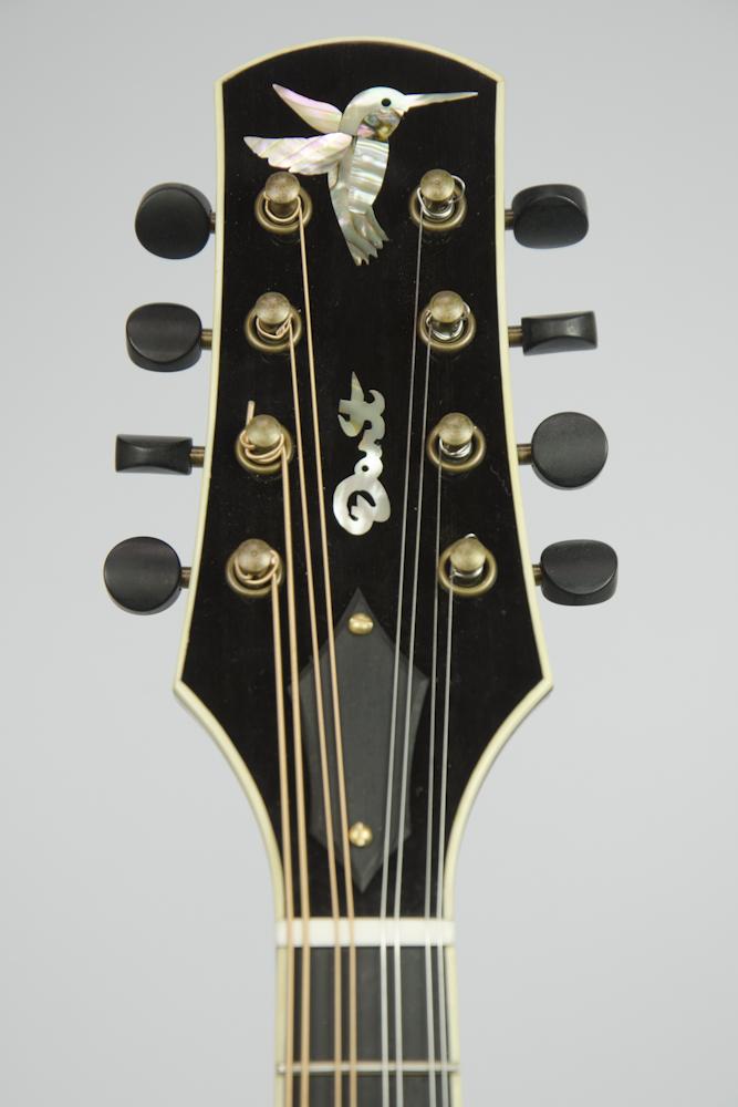 David Dart Hummingbird peghead inlay (abalone), from a Maple A5 Mandolin