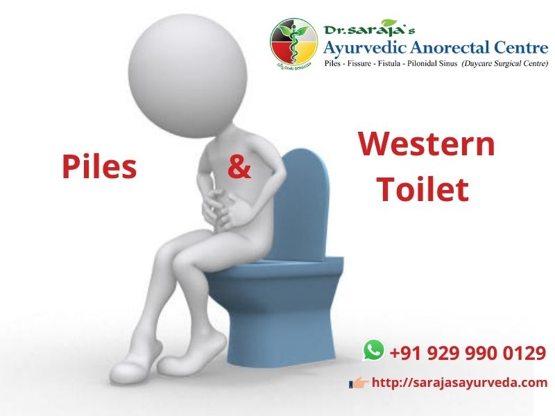 Piles and western toilet