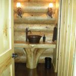 Powder room cedar stump vanity