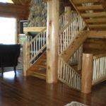log stairs, railing, hickory floor