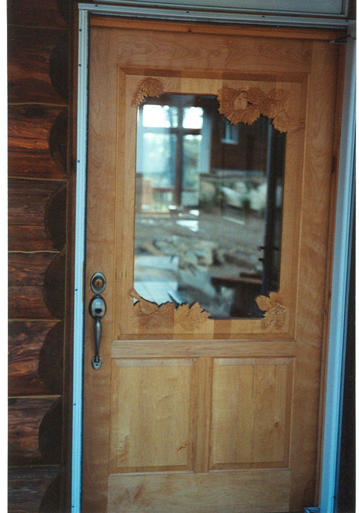 Custom hand carved entry door