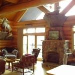 Great room hand scribed Cedar log home