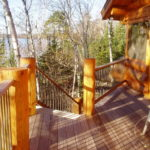 Log posts, Ipe decking and railing