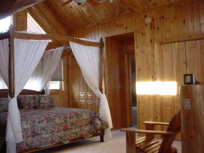 Loft bedroom, scribed cedar log home