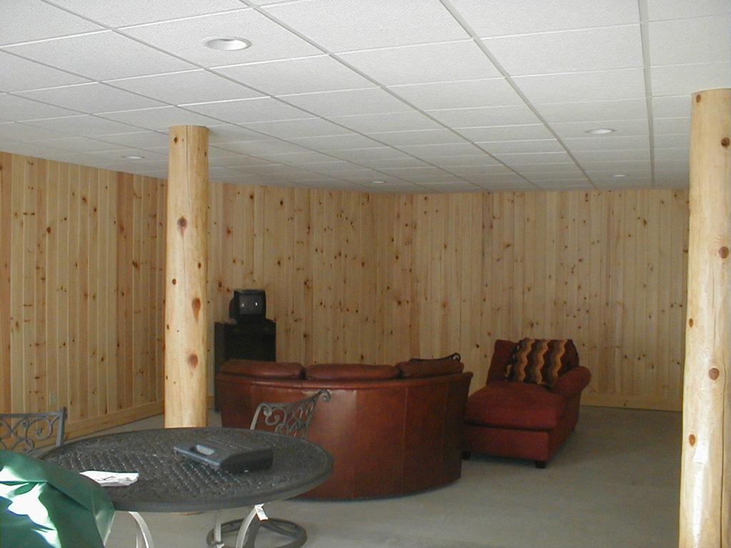 Basement living room log posts