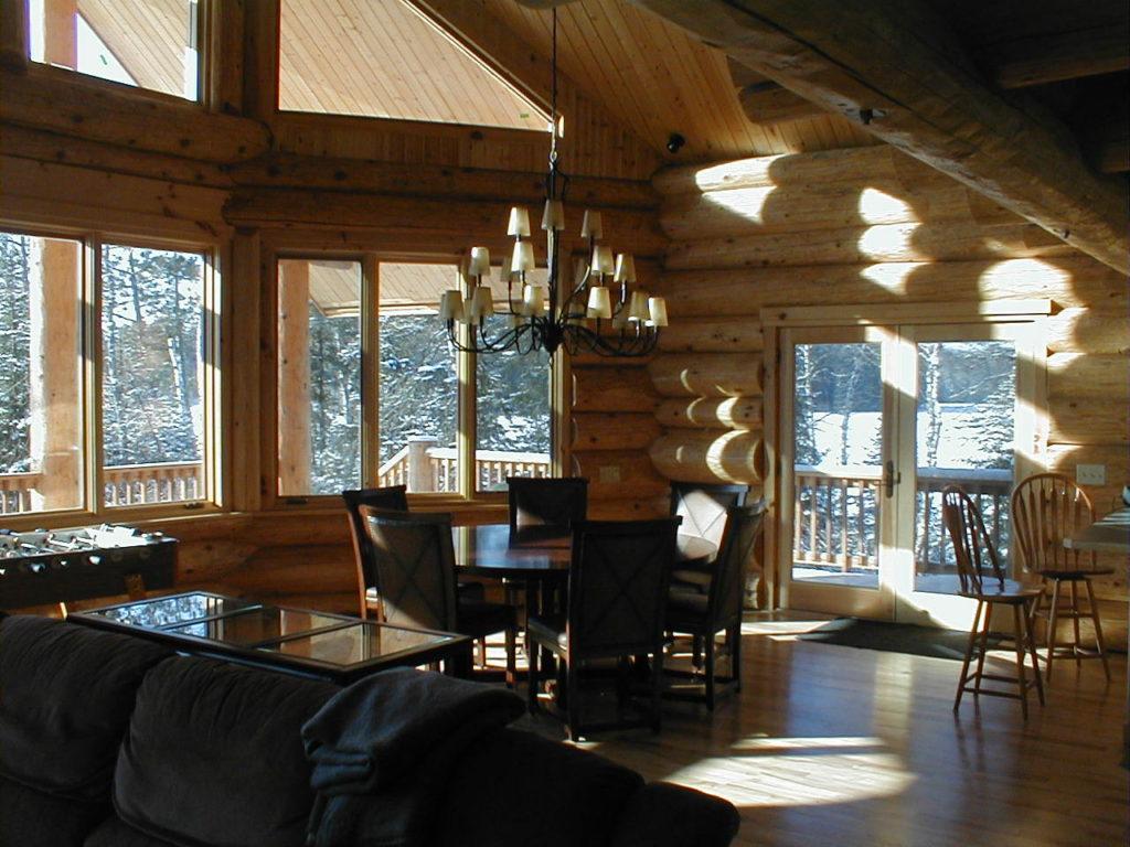 Great room, cedar log home,