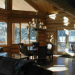 Great room, cedar log home,
