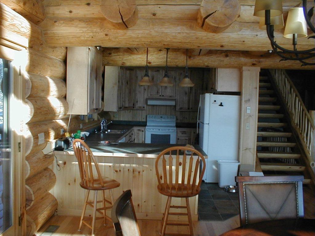 Kitchen area, cedar log home
