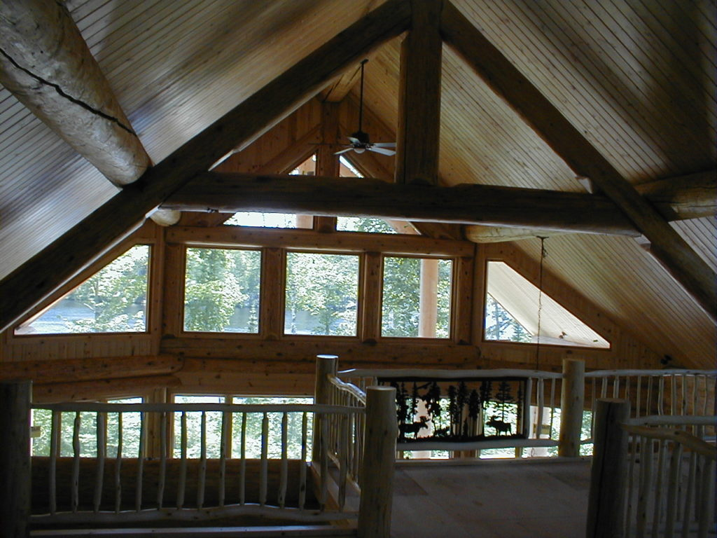 Lake view through log truss and beams